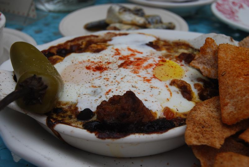 Huevos Rancheros with cumin-dusted pita chips - BEFORE