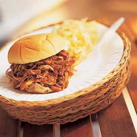 Pulled pork BBQ sandwich featured at Cook's Illustrated