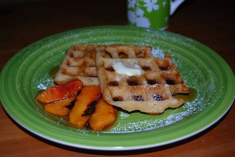 Grilled peaches & waffles